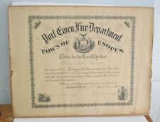 1915 Port Ewen NY FIRE DEPARTMENT Certificate of Exemption, Ulster County NY