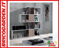 Libreria Scaffale bianco lucido e legno soggiorno salotto Design moderno