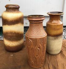 3 X large MID CENTURY vintage WEST GERMAN AUSTRIAN FAT LAVA style vase