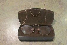 Antique 10K Gold Eye Glasses w Gold Filled Chain & Hair Pin with Original Case