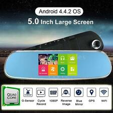 "5"" HD Android 4.4 GPS Nav Car Rear View Mirror DVR Camera Recorder WiFi+Free Map"