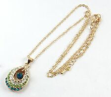 Women's 9 Carat Gold Plated Blue Green Crystal Zircon Necklace Jewellery