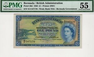1966 Bermuda 1 Pound P20d PMG 55 About Uncirculated
