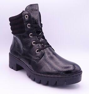 Rieker X5704-00 Women's Black Fleece Lined Flat Ankle Boots Size UK 7.5 EUR 41
