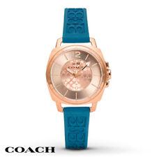 Coach Women's Watch Boyfriend Silicone Monogram Print Rose Gold Case 14502095
