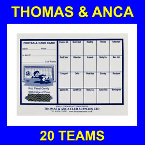 100 Football Cards Charity Fundraising Football Scratch Cards  20 Team Bus Stops