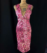 Just Cavalli Roberto Dress Italy 40 Small Sexy Plunging V Neck Satin Sheath Pink