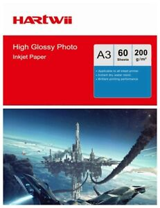 60sheets A3 Photo Paper 200Gsm Middle Thickness High Glossy Inkjet Paper Hartw