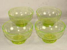 4 Vaseline Glass Shrimp Cocktail Bowls,Unmarked,Glow Under Black Light,Vintage