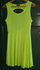 Piao Liang Fu Shi Ladies Sleeveless Open Back Dress Size L Neon Yellow