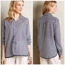 Anthropologie Blouse L HOLDING HORSES Top GARDEN TRIMMED BUTTONDOWN Floral NWT