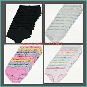 Girls 10 Pack Briefs Knickers Kids Underwear 100% Cotton George 2-14 Years