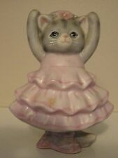 Vintage Kitty Cucumber Cat Figurine 1986 Pink Ballerina Schmid Shackman