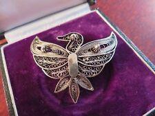 Wundervolle Silber Brosche Jugendstil Art Deco Vogel Filigran Groß Fein Vintage