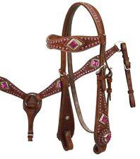 MEDIUM OIL Bridle, Breast Collar & Reins Set w/ PINK Rhinestones! NEW HORSE TACK