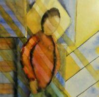 Barbara Wiese (20/21) abstraktes Aquarell 2004: MANN IN SCHRÄGEN & BUNTEN LINIEN