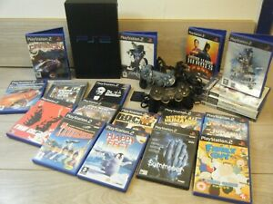 RETRO SONY PLAYSTATION 2 BUNDLE CONSOLE 2 CONTROLLERS LEADS AND 20 GAMES