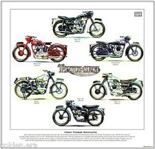 CLASSIC TRIUMPH MOTORCYCLES FINE ART PRINT - Tiger Trophy Thunderbird Speed Twin