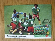 23/06/1990 World Cup Postcard: 2nd Round - Cameroon v Columbia (stamped/franked