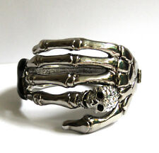 Butler and Wilson Silver Tone Single Skeleton Hand with Crystal Skull Bangle NEW