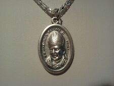~SAINT POPE JOHN PAUL II MEDAL~COMES WITH 22.5 IN SILVER PLATE CHAIN~CATHOLIC~