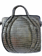 Sang A Womens Soft Quilt Wave Tote Platinum Genuine Stamped Leather Reg.$1660
