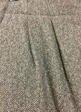 SATCH: Black & White woven pattern wool blend pleat front wrap skirt Size 10
