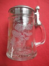 German Etched Glass DUCK Beer Stein BEAUTIFUL
