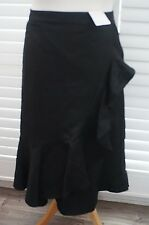Per Una Black Linen Blend Flared Faux Wrap Skirt with Ruffle - Size 18 - New