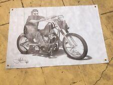 ned kelly tough vinyl poster Harley Davidson Bundaberg rum biker man cave art