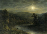"""perfact 36x24 oil painting handpainted on canvas """"Moonlight on the River""""N4810"""