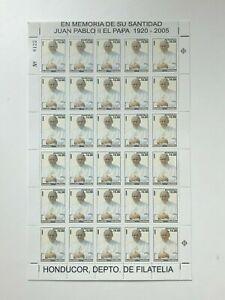 Honduras 2005 - SC# C1188 Pope John Paul II, Memorial - Sheet of 30 Stamps - MNH
