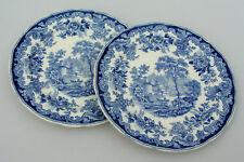 """(2) COPELAND SPODE - RHINE BLUE 10 1/4"""" DINNER PLATES - NICE CONDITION - ENGLAND"""