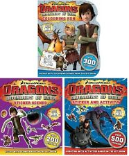 NEW x 3 DRAGONS Defenders of Berk Colouring Sticker Scenes HOW to TRAIN A DRAGON