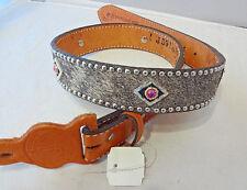 New Double J Saddlery Belt Western Pink Bling Rhinestone Concho 32 Leather Spots
