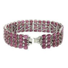 De Buman Sterling Silver Oval-cut Natural Ruby Link Bracelet, 6.8 inch