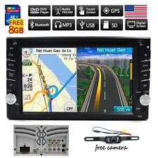 Car Stereo Radio DVD Player Bluetooth GPS Navigation with Map+Camera 2 DIN HD CD