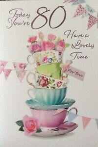 80th BIRTHDAY CARD FEMALE