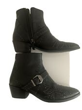 ZARA COWBOY HEEL LEATHER ANKLE BOOTS WITH MICRO STUDS SIZE UK 6 /39/ USA 8