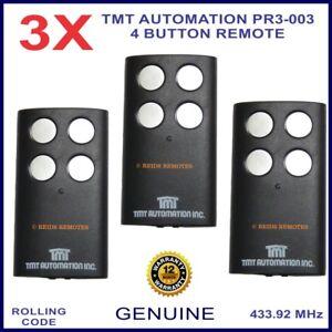 TMT Automation PR3-003 genuine 4 silver button black gate remote control x 3