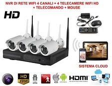 KIT  VIDEOSORVEGLIANZA WIRELESS 4 TELECAMERE RICEVITORE + DVR AHD 1.3MPX