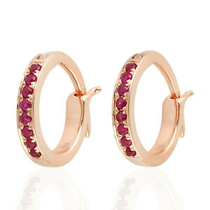 0.18ct Natural Ruby Gemstone Huggies Earrings 18k Rose Gold Jewelry For Gift