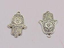 50 Tibet Silver Kabbalah Hamsa Hand Evil Eye Good Luck Charm Pendants