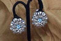 Vintage KRAMER of NEW YORK Silver Tone Blue Rhinestone Flower Clip Earrings