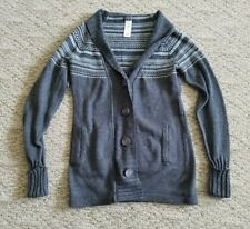 PATAGONIA WOMEN'S LONG LAMBS WOOL SWEATER SIZE XS COLOR GRAY BUTTON FRONT