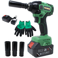 21V Impact Wrench Kit 1pc Li-Ion Battery Cordless with Drill Set Led Gloves 1/2""