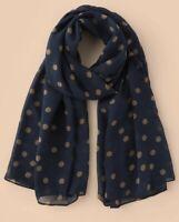 NEW polka dot Print navy blue beige Scarf Ladies Womens Shawl Sarong Gift UK