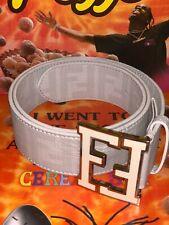 NEW Authentic WHITE Fendi College Zucca Leather Silver Trim FF Buckle Belt