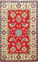 Vegetable Dye Handmade Super Kazak Area Rug WOOL Geometric Oriental Carpet 2'x3'
