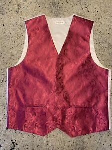 PIERRE CARDIN Gorgeous  Vest Hot Pink Fuchsia Paisley Waistcoat Men's Medium EUC